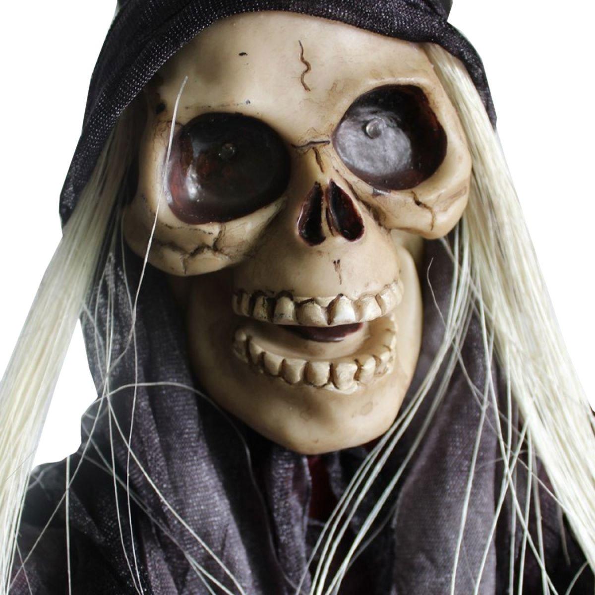 Nihiug Halloween Haunted House Ghosts Horror Geister Stimme Glow Ghosts Männer Zerfall Zombie Maske Mit Haaren,A