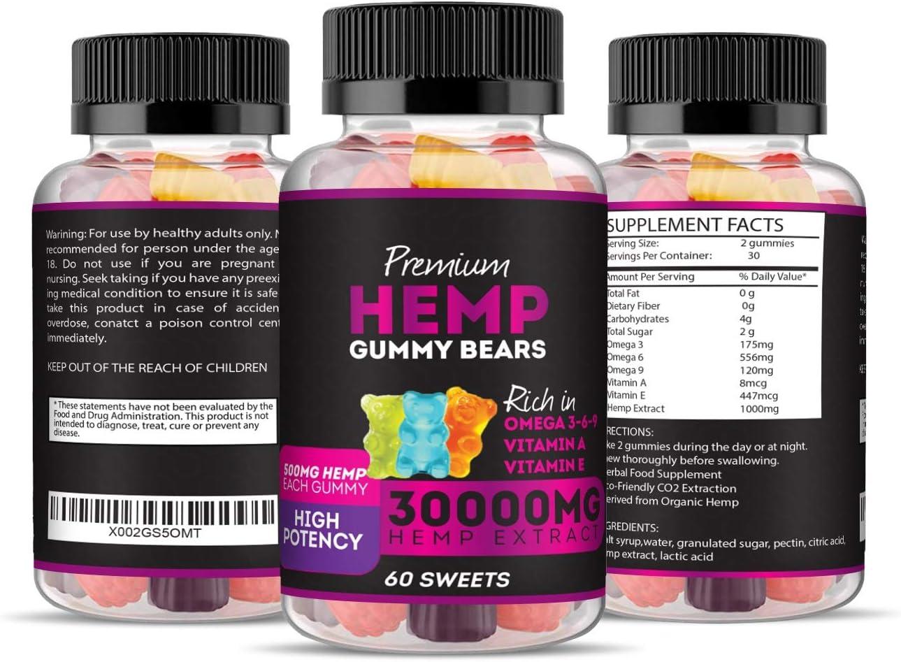 Hemp Gummies Premium 30000 High Potency - Fruity Gummy Bear with Hemp Oil - Natural Hemp Candy Supplements Pain Anxiety Stress & Inflammation Relief - Promotes Sleep and Calm Mood