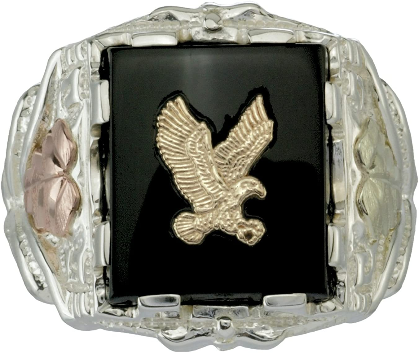 Men's Onyx Eagle Ring, 10k Yellow Gold, Sterling Silver, 12k Green and Rose Gold Black Hills Gold Motif