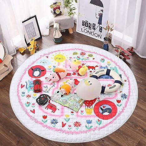 Winthome Tapis de jeu pour bébé Rangement de jouets pour tapis de gymnastique en coton antidérapant tapis rampant lavable 59 '' (surclassement