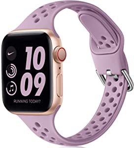 Henva Slim Breathable Band Compatible with Apple Watch SE 38mm 40mm for Women Girls, Soft Silicone Narrow Sport Band Compatible with iWatch Series 6 5 4 3 2 1, Lavender