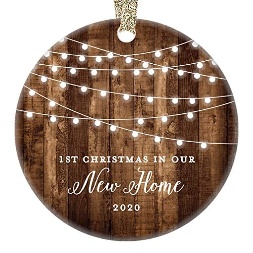 New Home 2019 Ornament Housewarming 1st Christmas in Our New House Rustic Farmhouse Ceramic Collectible Homeowner Present Real Estate Agent 3 Flat Circle Porcelain