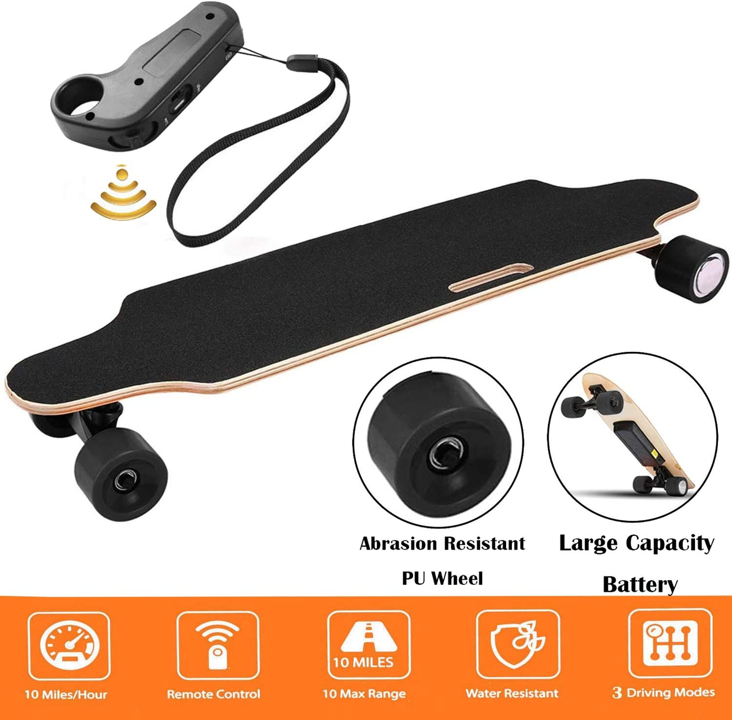 Aceshin Youth Electric Skateboard 12MPH Top Speed, 250W Motor 7 Layers Maple Longboard with Wireless Remote Control Electirc Board