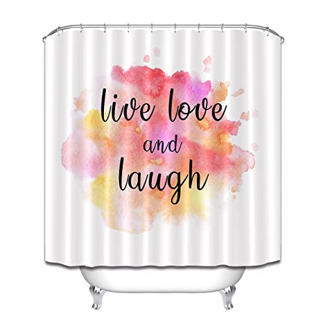 LB Live Love Laugh Watercolor Background Shower Curtains For Bathroom Inspiring Life Quote Print Fabric