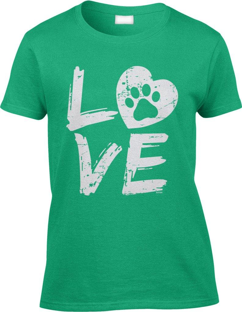 Blittzen Womens/Ladies Love Paw Print In Heart, XL, Irish Green