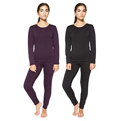 2 & 4 Piece: Womens Thermal Underwear Set - Thermal Underwear for Women Fleece Lined Top & Bottom Long Johns at Women's Clothing store