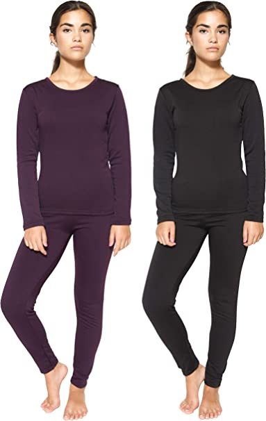 MANCYFIT Womens Thermal Underwear Set Seamless Long Johns Double Fleece Lined Base Layer