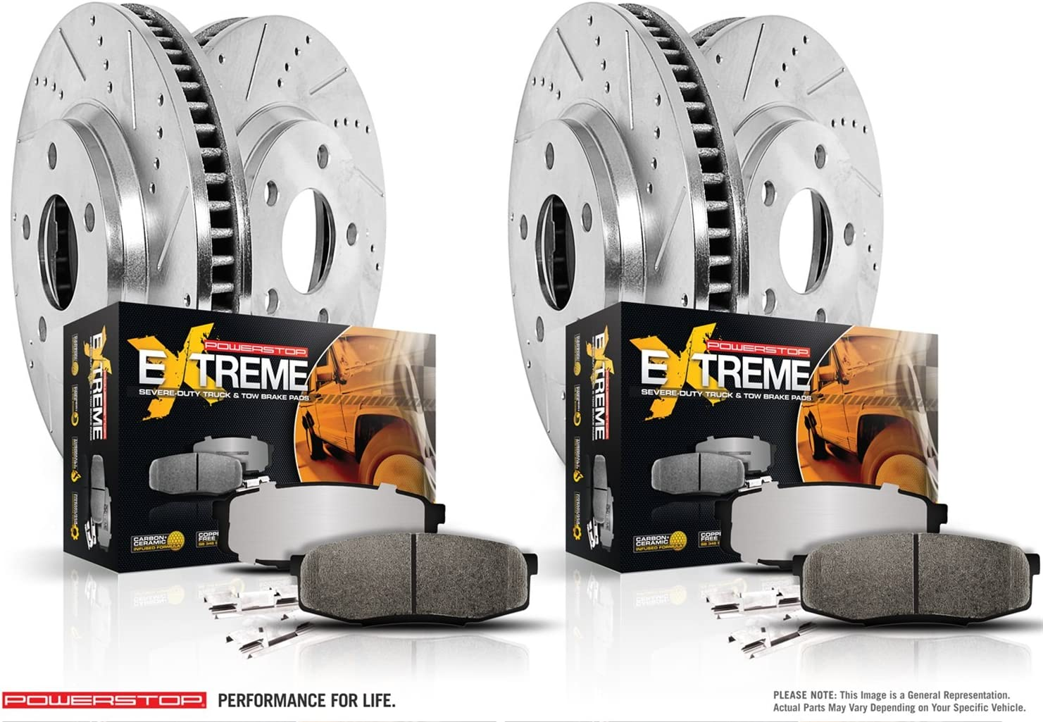 Power Stop K8108-36 K7939 Z23 Evolution Front and Rear Kit Rotors and Brake Pads