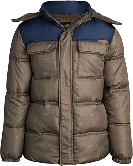 iXtreme Boys' Winter Jacket - Fleece Lined Bubble Puffer Water Repellent Ski Jacket with Winter Hat