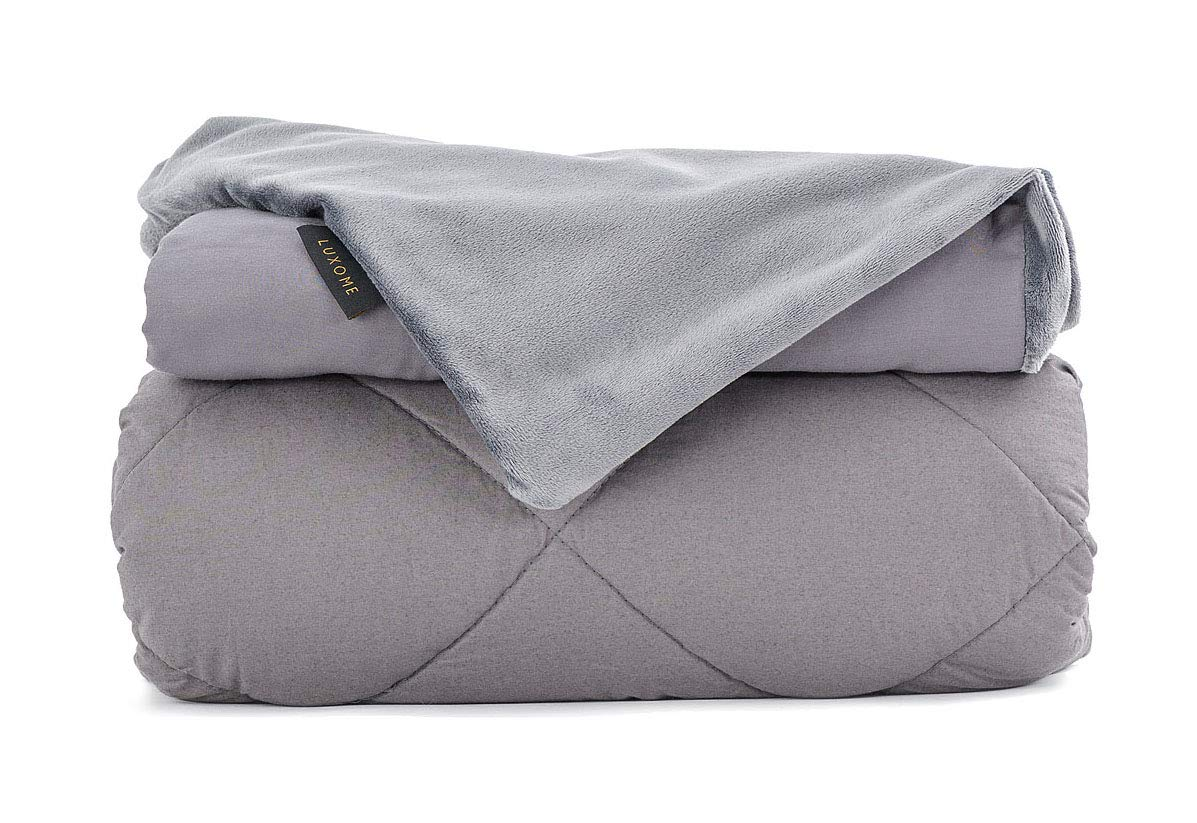 "LUXOME Luxury Adult Weighted Blanket | Includes Removable Bamboo/Minky Cover | 18-20lbs | Queen Size | 60""x80"" 
