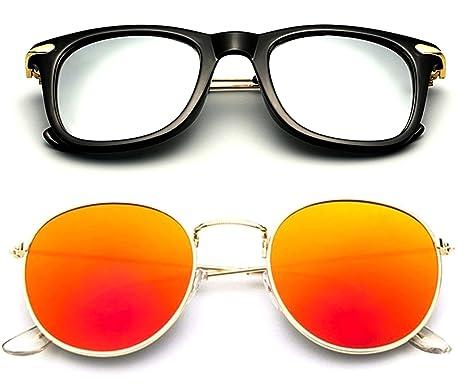 c437776617 Younky Offers Combo Pack Of 2 Stylish Branded Sunglasses For Men Women Boys    Girls (Bigbsilver-Kvligold