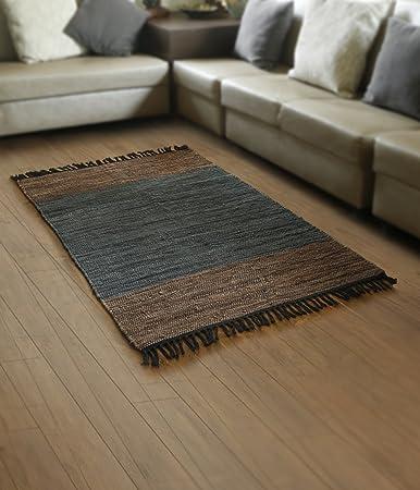 store indya, tessuto a mano intrecciata morbido cotone tappeto ... - Soggiorno Blu E Marrone 2