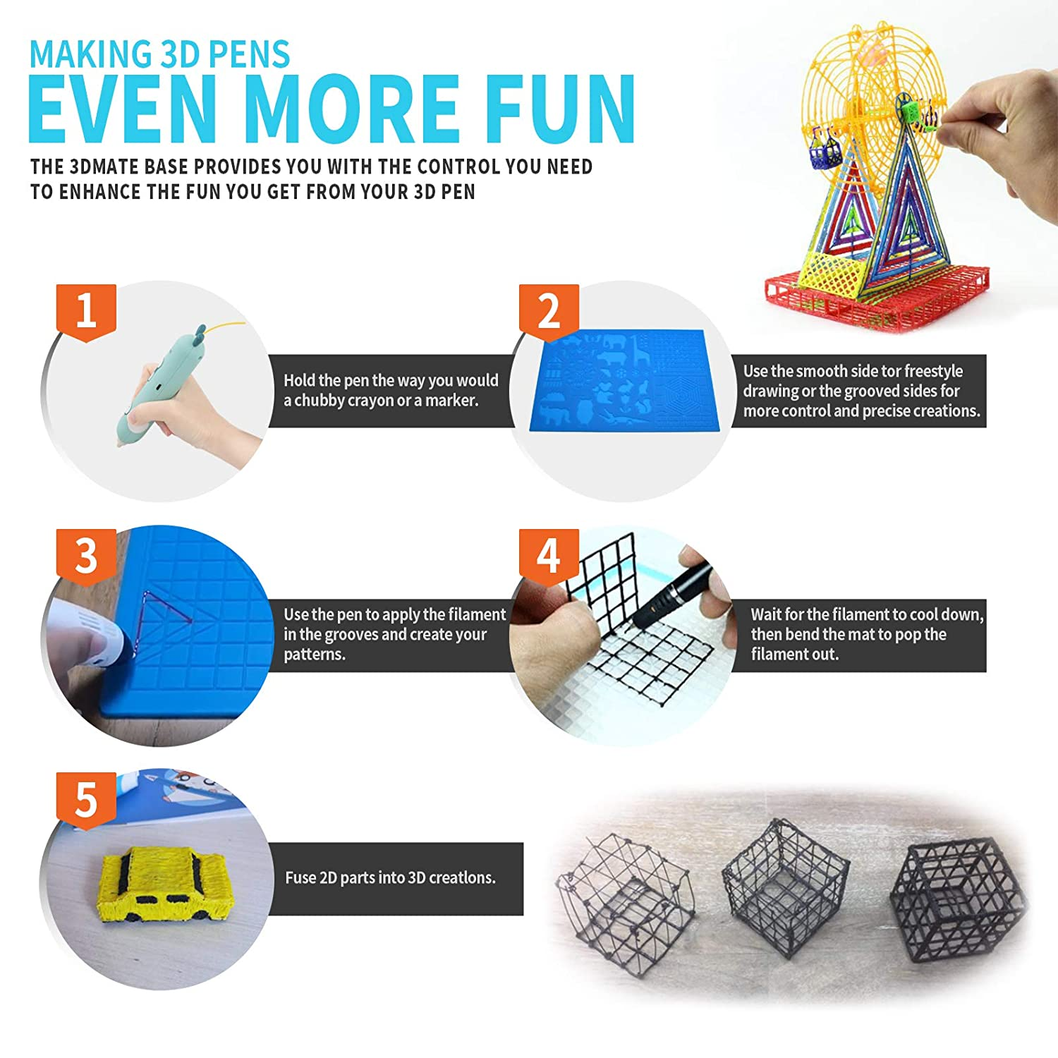 10.53x16.5 in Large Multi-Shaped 3D Silicone Design Mat,3D Pens Drawing Tools with 2 Fingers Caps,Great Christmas Gift for 3D Beginners,Children and Friends 3D Printing Pen Mat with Patterns