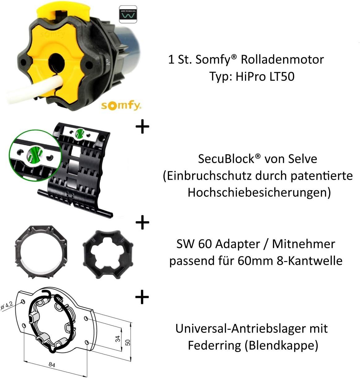 Meteor 20//17 Motorlager Anschlusskabel und SW 60 Adapter//Mitnehmer. Somfy HiPro LT50 hochwertiger mechanischer Rohrmotor von Somfy: Rolladenmotor HiPro LT50 inklusive 3 Hochschiebesicherungen