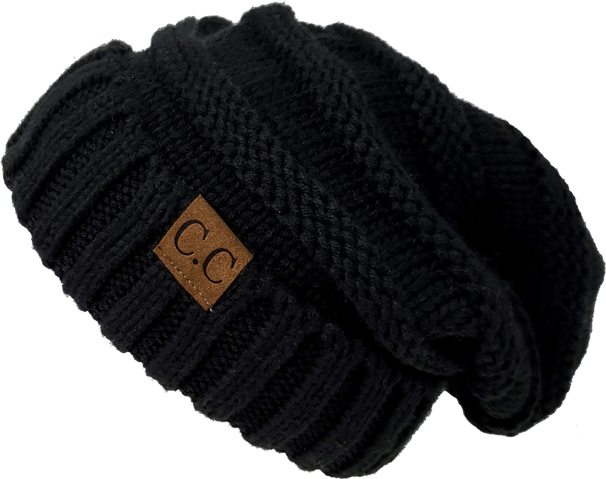 Funky Junque H-6100-06 Oversized Slouchy Beanie - Black