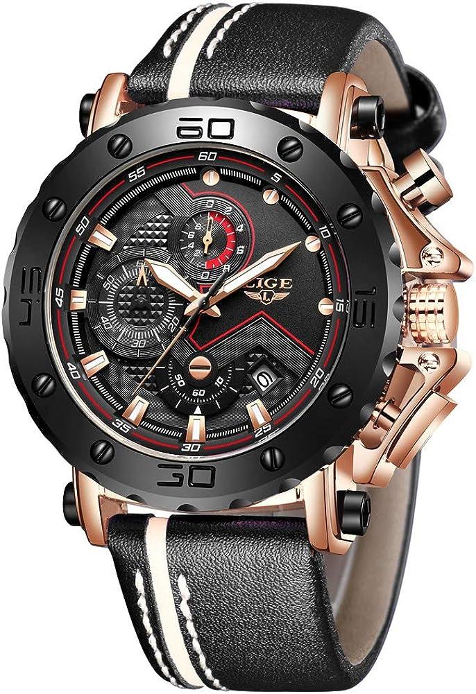 LIGE LG9899 - Reloj analógico de cuarzo para hombre con cronógrafo, correa de piel negra