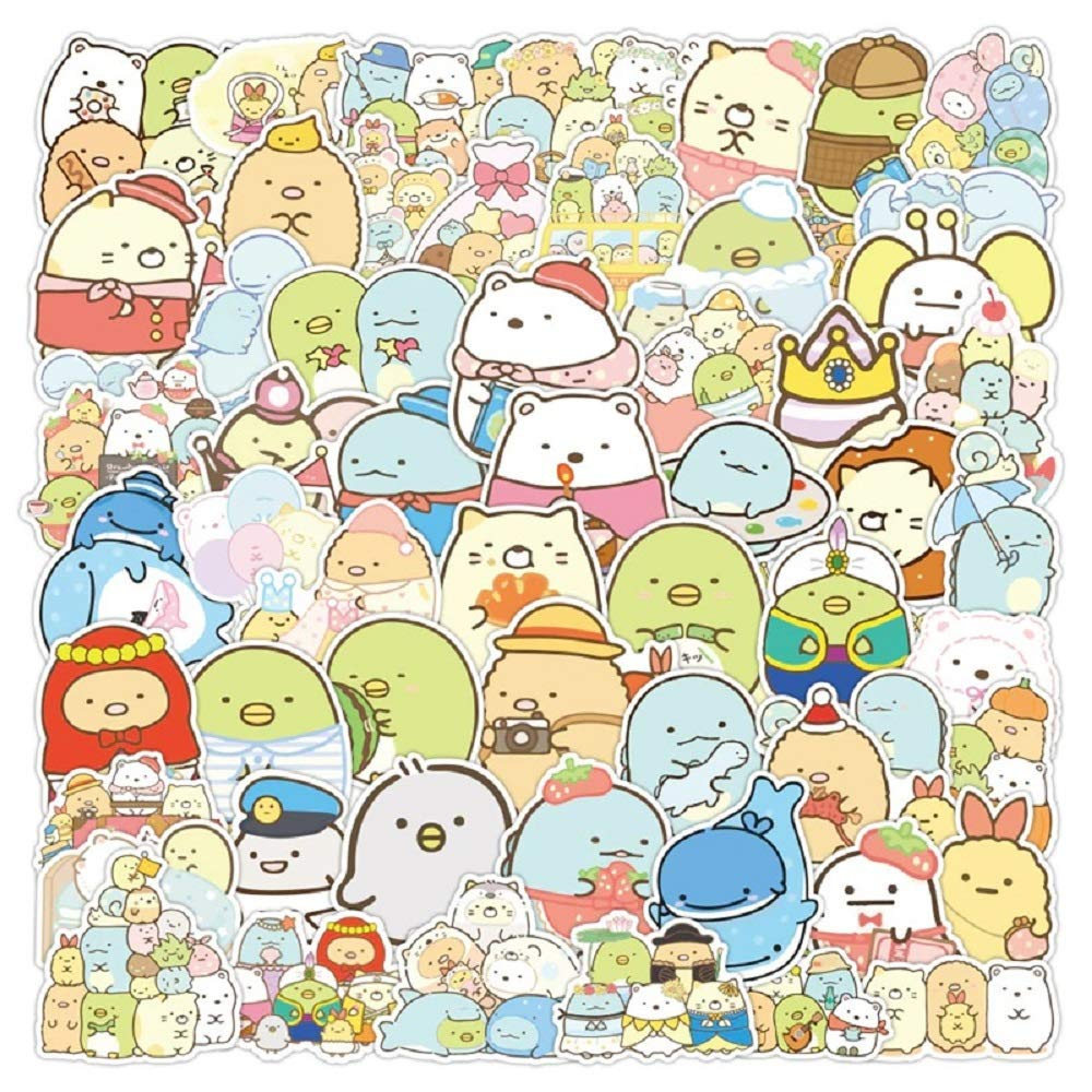 100PCS Anime Kawaii SumikkoGurashi Stickers Decal PVC for Girl D Stationery Laptop Skateboard Guitar Classic Lovely Sticker Toys