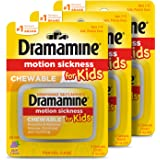Dramamine Motion Sickness for Kids, Chewable, Dye Free, Grape flavored, 8 Count, 3 Pack