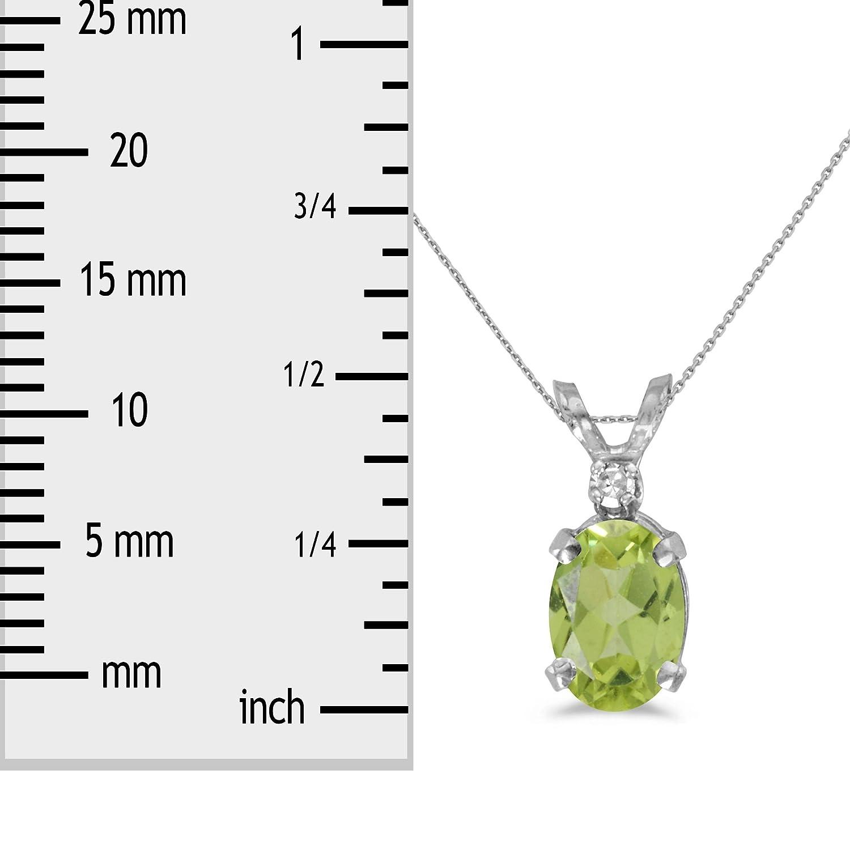 FB Jewels Solid 14k White Gold Genuine Birthstone Oval Gemstone And Diamond Pendant 0.92 Cttw.
