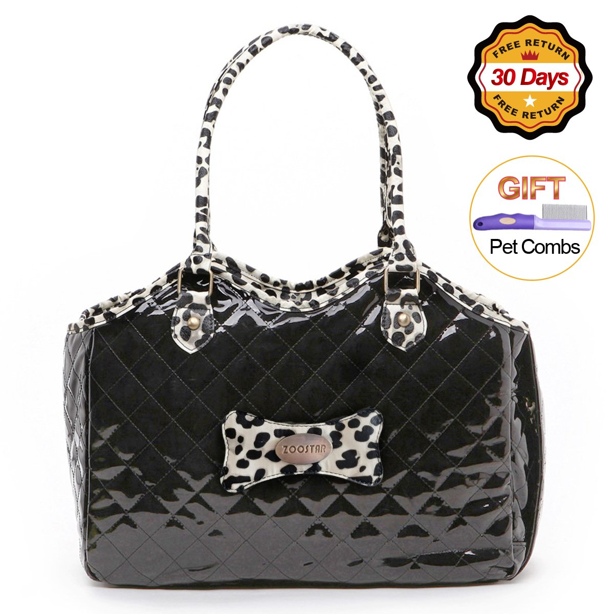 Dog Carrier Purse Pet Travel Bag Cat Portable Handbag,Soft Sided Tote with 2 Fleece Pads for Small Pets,Come with a Pet Comb,Up to 15lbs,Easy to Storage,Go Hiking Shopping with Your Doggy (black) by ZOOSTAR (Image #1)