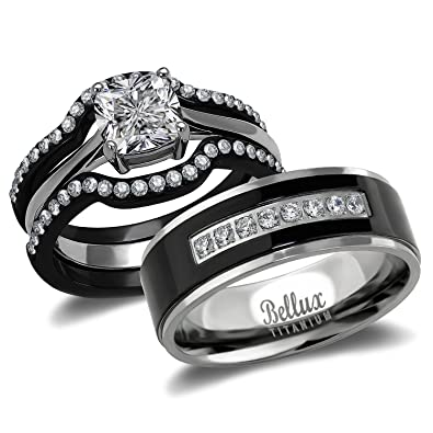 his and hers wedding ring sets couples matching rings womens steel wedding rings mens - Wedding Rings For Couples