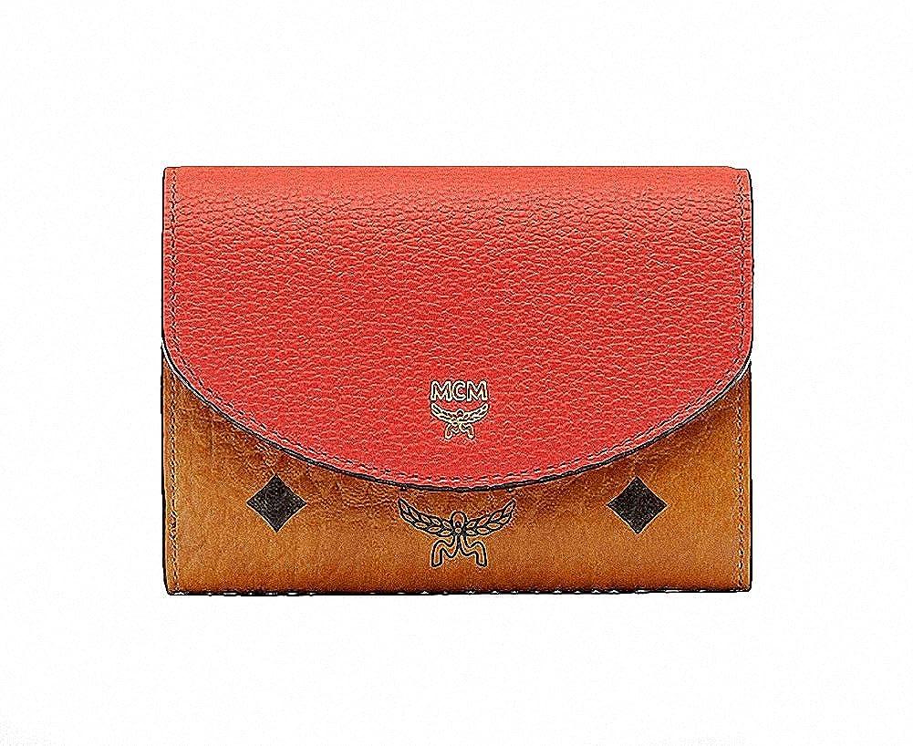 【エムシーエム】 MCM オレンジコニャックレザーブロック三つ折り財布スモールウォレット Visetos Leather Orange Block 2 tone Trifold Wallet Small [並行輸入品] B07BQ3YYDG