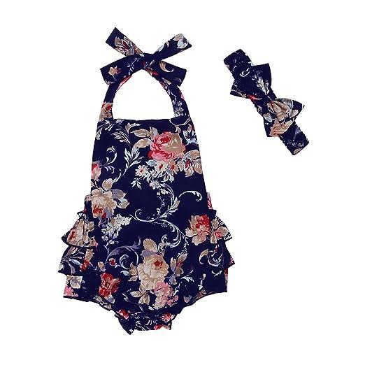 4a37b06b972 Newborn Baby Girls Clothes Floral Ruffle Halter Romper Jumpsuit Summmer  Dress Sunsuit with Headband (0