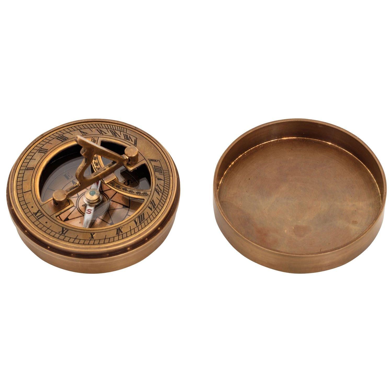 Compas boussole 7cm maritime laiton cadran solaire verre style antique ré plique aubaho
