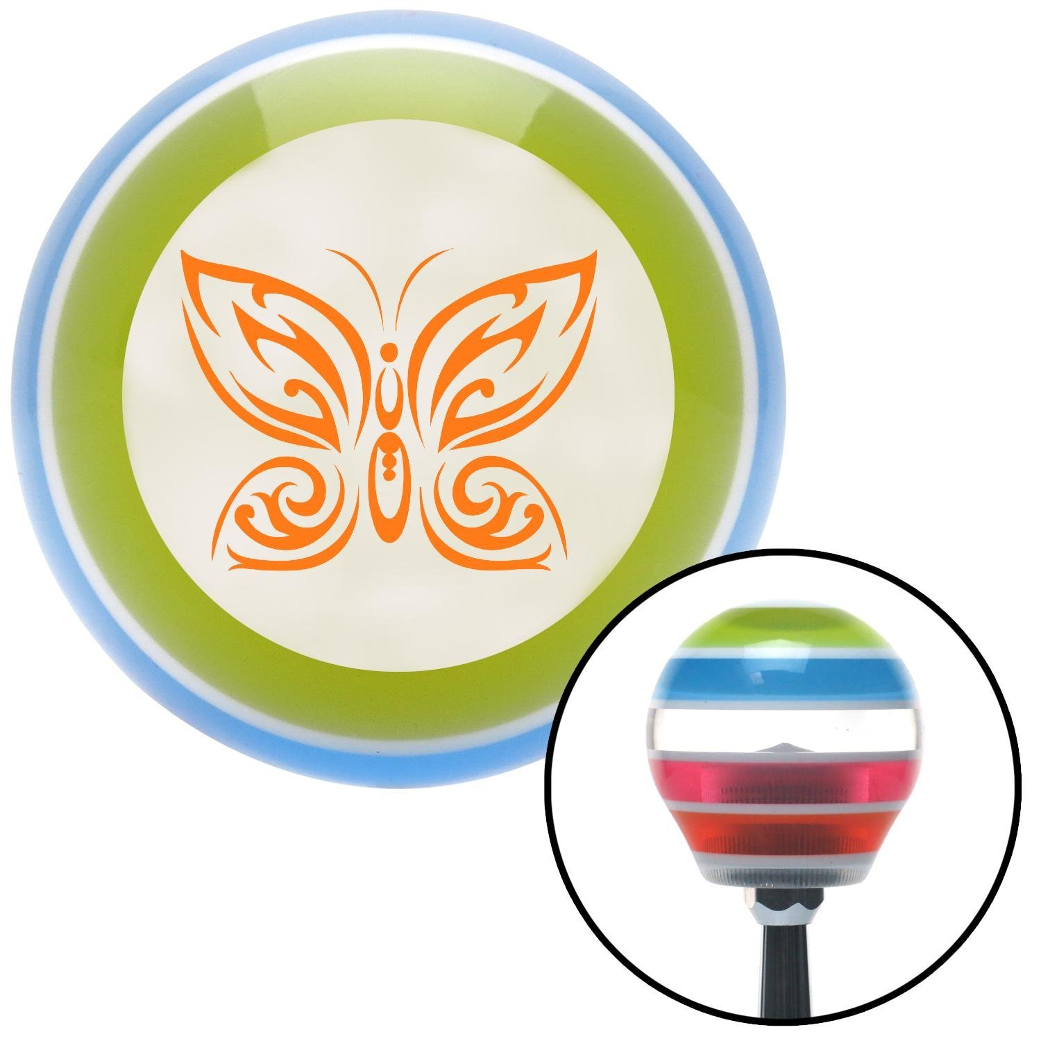 Orange Fancy Abstract Butterfly American Shifter 132409 Stripe Shift Knob with M16 x 1.5 Insert