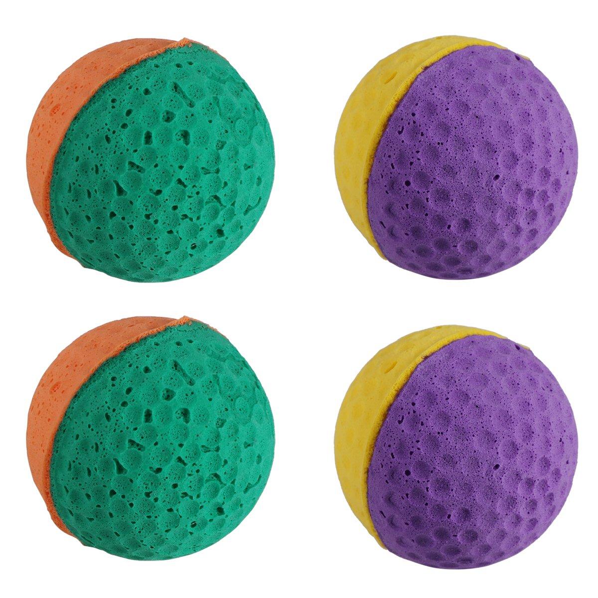 Ueetek 4pcs mignon Boule de latex jouet pour animaux domestiques éponge Balles Kitty chaton Catcher Jouets (couleur aléatoire)