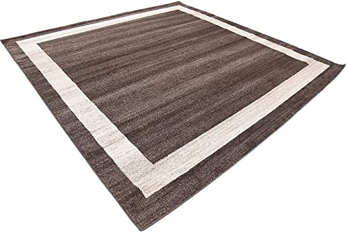Unique Loom Del Mar Collection Contemporary Transitional Brown Square Rug 8 0 x 8 0