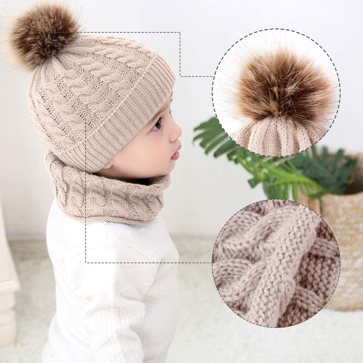 Realdo 2Pcs Baby Warm Knitted Hat+Scarf Infant Toddler Kids Girls Boys Soft Cute Cozy Chunky Winter Caps Set
