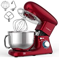 Stand Mixer, Cookmii 660W Kitchen Food Mixer with 5.5-Qt Stainless Steel Bowl, Tilt-head Cake Mixer with Dough Hook, Beater, Whisk(Red)