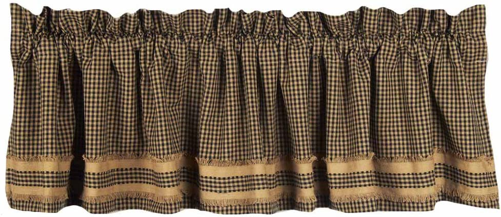 Home Collection by Raghu Newbury Gingham Black with Oat Trim Black and Oat Valance, 72 by 15.5