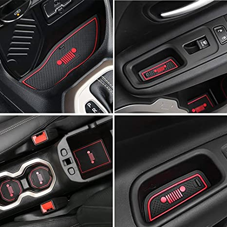 Jeep Renegade Interior >> Auovo Anti Dust Interior Cup Mats Door Gate Slot Storage Mats For Jeep Renegade 2016 2017 16pcs Set Year Of 2016 2017 Red