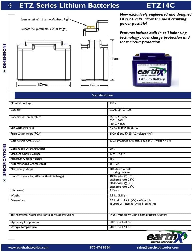 EarthX ETZ14C LITHIUM LiFePO4 Snowmobile Battery With Integrated Management System
