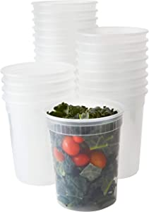 Deli Grade, BPA Free 32oz Plastic Containers with Lids, 24ct. Leakproof, Microwavable Portion Container for To-Go Orders, Food Prep and Storage. Reusable Takeout Cups for Restaurant, Cafe and Catering