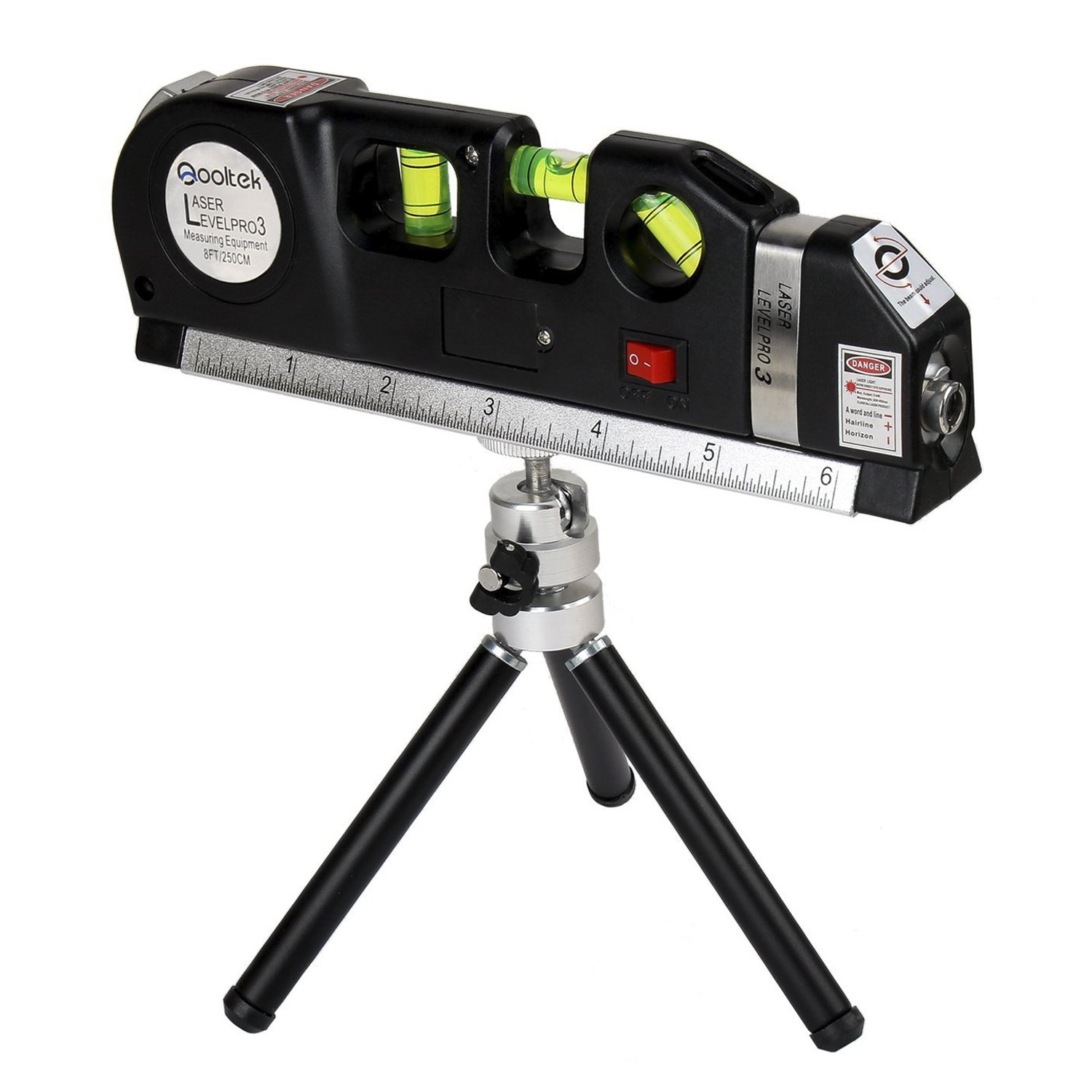 Qooltek Laser Level Line Laser Measure +8ft Tape Ruler Adjusted Standard and Metric Rulers with Metal Tripod Stand(Black)