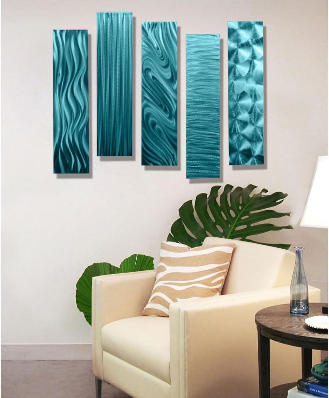 Aqua Leaves Metal Wall Art Abstract Iron Sculpture Hanging BIG 90cm Set//2