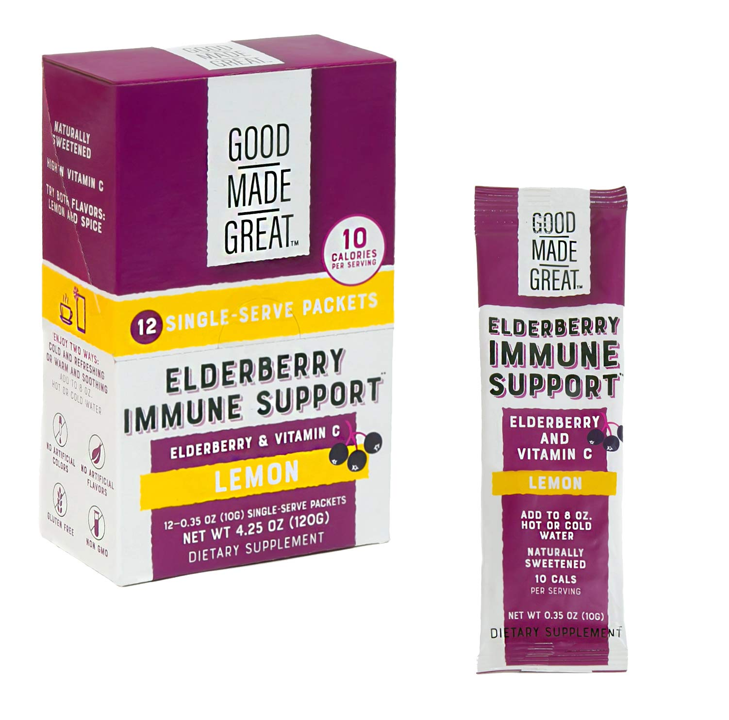 Elderberry Drink Mix (1250mg) Replaces Syrup/Gummies/Tea, with Vitamin C (500mg) for Immune Support - Non-GMO - Low Sugar - Natural Lemon Flavor by Good Made Great