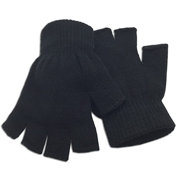 Bargain packs of Black Ladies Thermal Fingerless Gloves fast post
