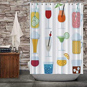 Tstyrea Set of Drinks,Shower Curtain Wine Bathroom Decor Set with Hooks 72X72in