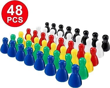 Gejoy 48 Piezas Juego de Piezas de Peones de Plástico Multicolor para Juegos de Mesa, Componente de Marcadores de Mesa: Amazon.es: Juguetes y juegos