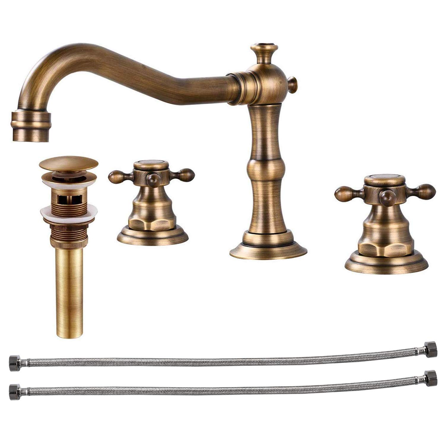 Widespread Bathtub Faucet Double Handle Mixer Tap for Bathroom Brushed Gold Antique Brass Three Hole Deck Mount Hot Cold Water Matching Pop Up Drain with Overflow