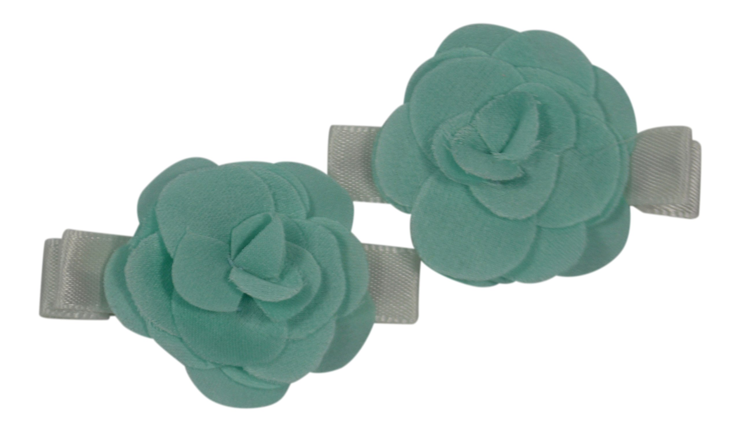 PLH Bows 2-pack Satin Rosebuds on Clippie, 1 3/4'' Clippie, Will hold fine hair (Aqua)