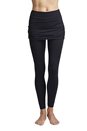 ade3ce2a438109 TLC Sport Women's Gathered Skirt Yoga Tights Leggings with Over Skirt ...