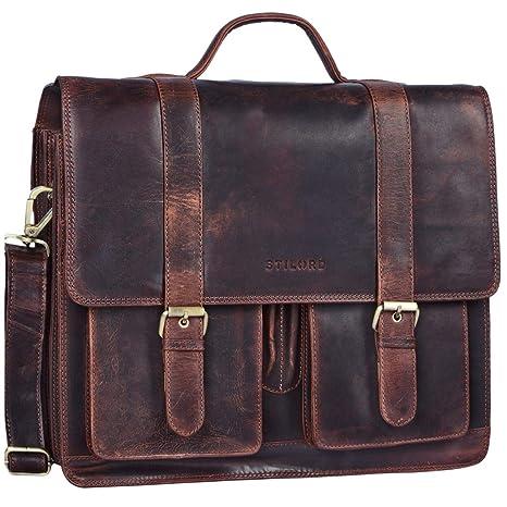 9491a4e632533 STILORD  Marius  Klassische Lehrertasche Leder Schultasche XL groß  Aktentasche zum Umhängen Businesstasche Laptoptasche echtes