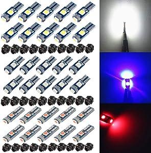 BlyilyB 10-Pack T5 37 74 LED Bulb With Twist Lock Socket PC74 PC37 Dashboard Instrument Panel Gauge Cluster Light (W + B + R)