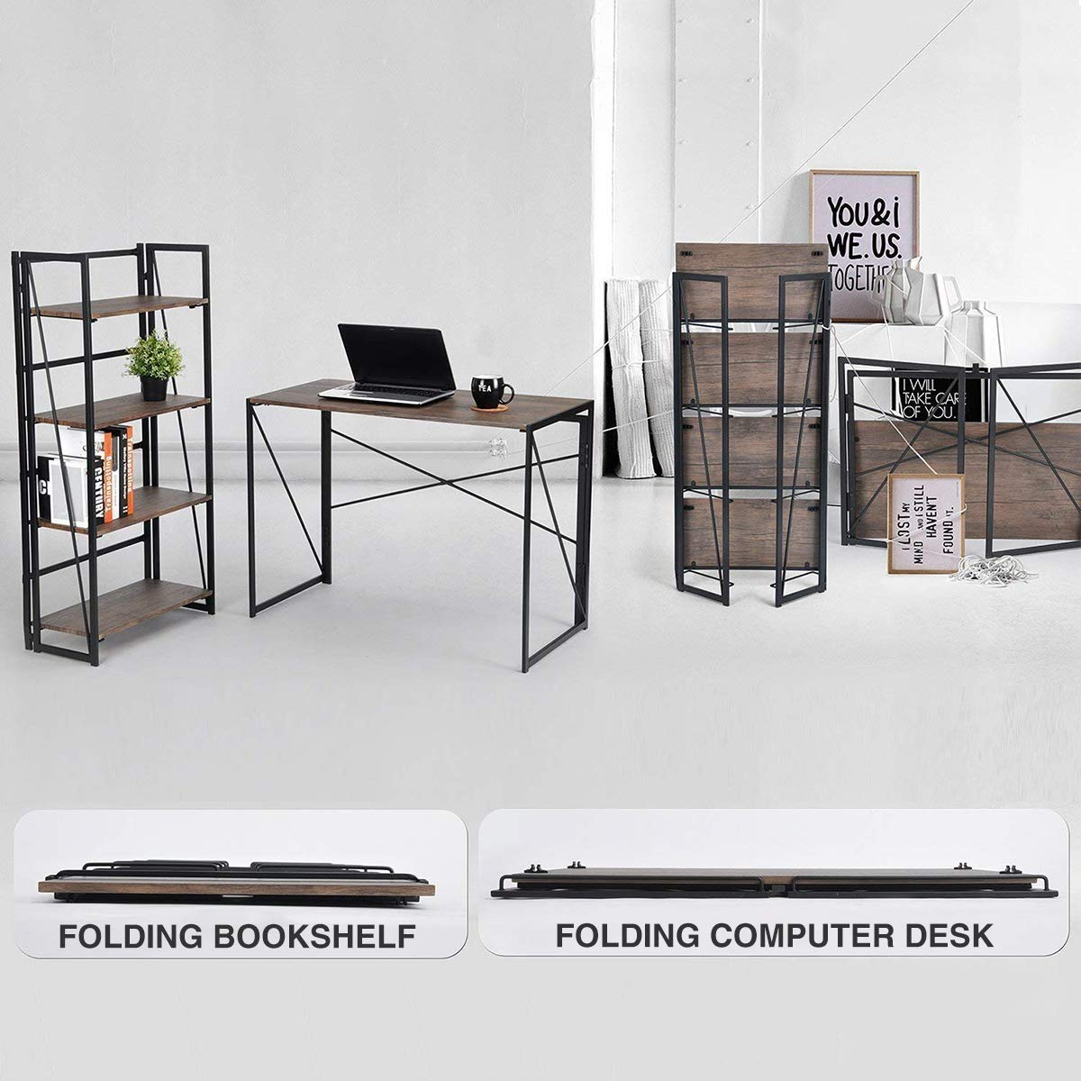 Industrial Style Folding Laptop Table for Home Office Notebook Desk Brown Desktop Black Frame