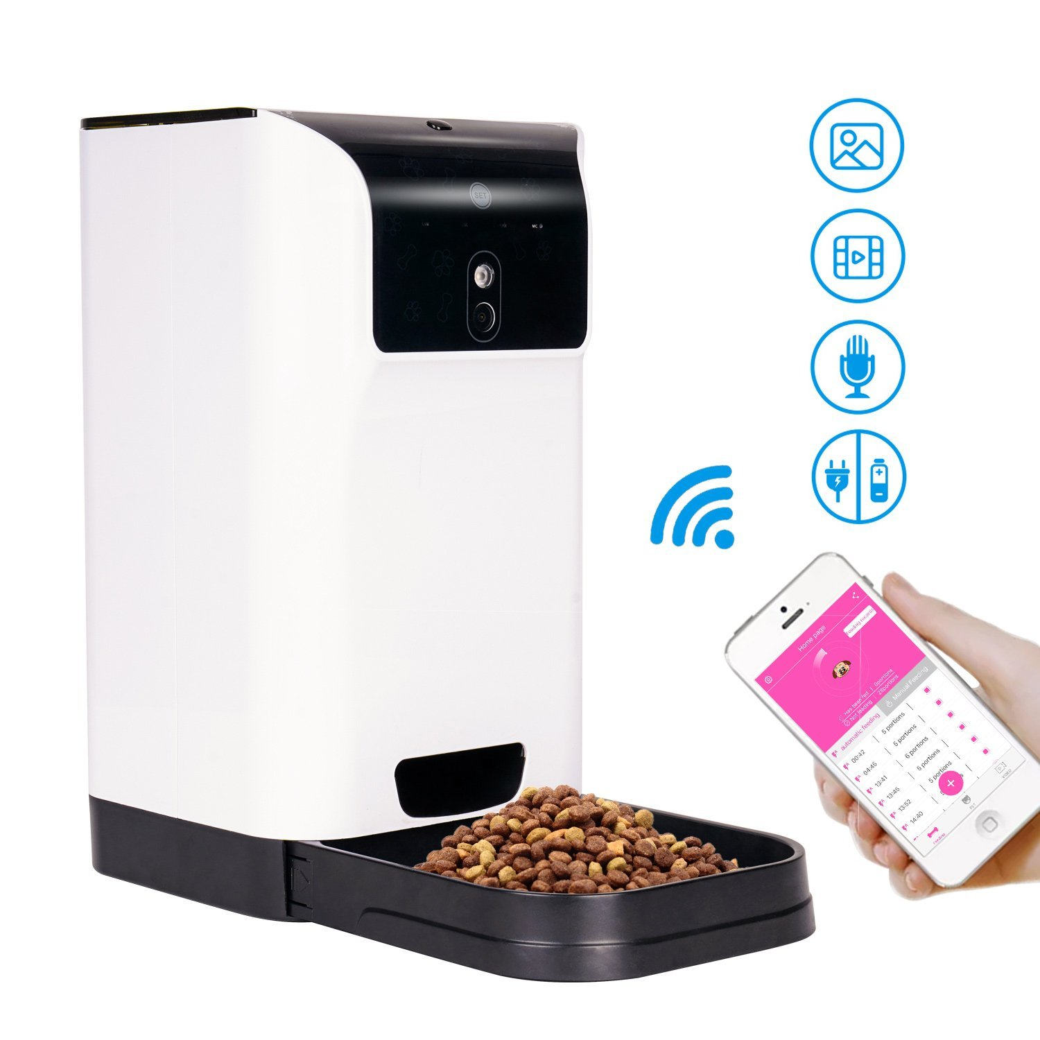 Automatic Cat Feeder Food Dispenser - Tespo Smart pet feeder for Cats&Dogs 6L Capacity Timer Programmable,control by APP,HD Camera Video Recording